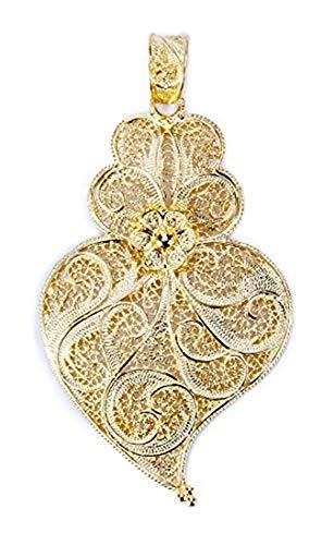 Vianas Colgante de Mujer Corazón Filigrana Portuguesa en Plata Chapado en Oro, Altura: 6cm