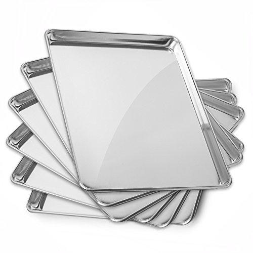 GRIDMANN 15″ x 21″ Commercial Grade Aluminum Cookie Sheet Baking Tray Pan Three Quarter Sheet – 6 Pans