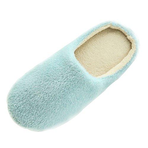 SAGUARO Erwachsene Plüsch Hausschuhe Winter Wärme Indoor Pantoffeln Home rutschfeste Weiche Leicht Baumwolle Slippers für Herren Damen, 35/36 EU=36/37 CN Blau