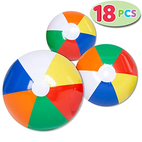 "JOYIN Rainbow Beach Balls (18 Pack), Combo Set Include 18 Inflatable Beach Balls in 20"" (6), 16"" (6) and 12"" (6)"