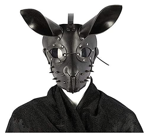 Lzpzz Cat Repbit Mouse Fox Mask, Deluxe PU Mascarilla de Cuero Half...