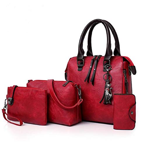 Women's Bags PU Leather Bag Set 4 Pieces Purse Set ?Handbag Cross Body Shoulder Bag Purse Card Bag Set Gift (C)
