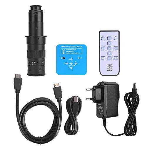 FastUU Fotocamera per microscopio,Fotocamera per microscopio Industriale USB Hdmi 34MP con Obiettivo 180X,Regolazione Automatica Fotocamera per microscopio a bilanciamento del Bianco(Spina UE)