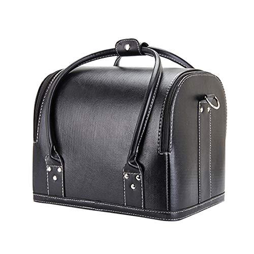 Kosmetikkoffer, Kosmetikkoffer, Kosmetikkoffer, Aufbewahrungsbox, abnehmbare Aufbewahrungsbox, mit Schultergurt, Schwarz