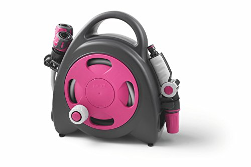 GF 80275606 Mini dévidoir Aquabag + Raccords et Lance d'arrosage 11,5 m - Rose