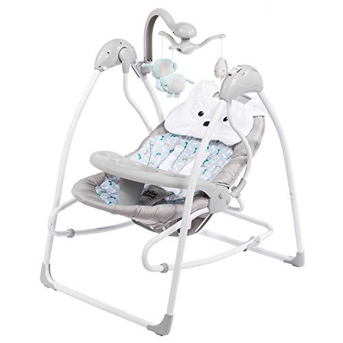 all Kids United Elektrische Babywippe Deluxe - Baby-Schaukel Schaukelwippe mit Mobile, Fernbedienung, extra Schaukelstuhl