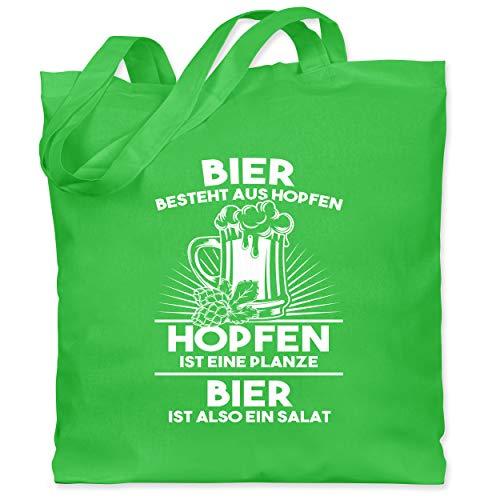 Shirtracer Sprüche - Hopfen ist eine Pflanze Bier ist Salat - Unisize - Hellgrün - Fun - WM101 - Stoffbeutel aus Baumwolle Jutebeutel lange Henkel