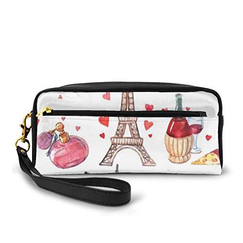 Estuche para lápices, bolsa de papelería, diseño de la Torre Eiffel, vino tinto, café, perfume, con temática romance, pequeña bolsa de maquillaje