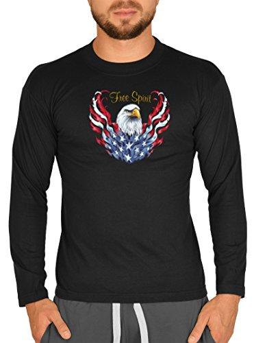 Lange mouwen heren t-shirt USA Bike motief Free Spirit witte kop adelaar bike shirt met lange mouwen voor biker Hard Rock Longshirt voor mannen mannen Laiberl Leiberl