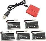 ZYGY 5PCS 3.7V 300mAh Lipo Batería y 5 en 1 Cargador para Hubsan X4 (H107C, H107D, H107L), Syma X11 X11C, TDR Spider,HS170,HS170C,F180W,F180C, FX801 V911S A120 XK A150 V966 RC Quadcopter Repuestos