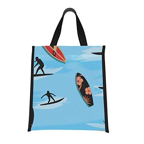 Bolsa de almuerzo para hombres, colorida, interesante, junto al mar, surf, playa, bolsa más fresca, bolsa de almacenamiento reutilizable, plegable, mantiene la comida caliente/fría pa