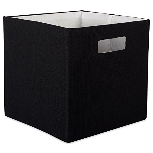 DII Hard Sided Collapsible Fabric Storage Container for Nursery, Offices, & Home Organization, (11x11x11) - Solid Black
