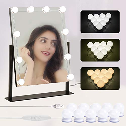 Gospire Hollywood-Stil LED Spiegelleuchte 10 Dimmbar Schminklicht Make Up Licht Spiegellampe für Kosmetikspiegel Spiegelleuchte für Schminktisch, Ankleidezimmer, Salon, Badezimmer, Hotel
