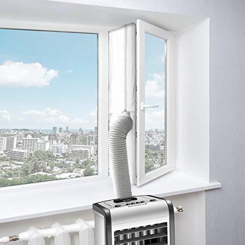 Fensterabdichtung Für Mobile Klimageräte, Abluft-Wäschetrockner, Klimaanlage, Bautrockner, Trockner, Kippfenster, Dachfenster, Passend zu Jedem Klimagerät und Schlauchgrößen - Umlaufmaß bis 400 cm