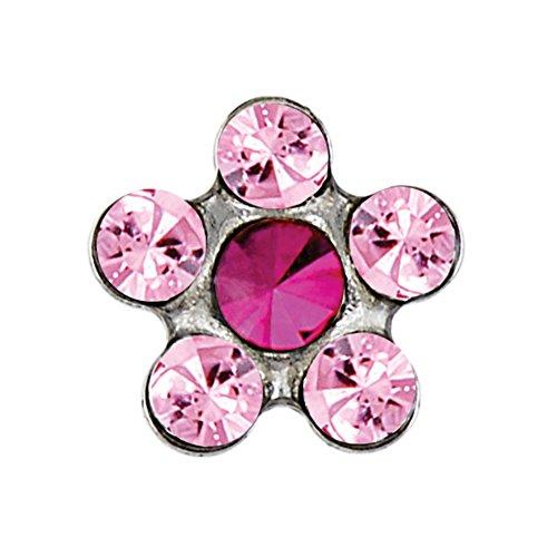Studex sensibles Coupe rose clair et fuchsia cristal Daisy Boucles d'oreilles clous en acier inoxydable 5 mm Réglage