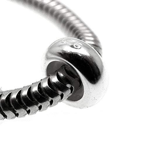 Moondrops One Plain Stopper - Spacer - 925 Sterling Silver Bead for 3MM charm bracelet - European