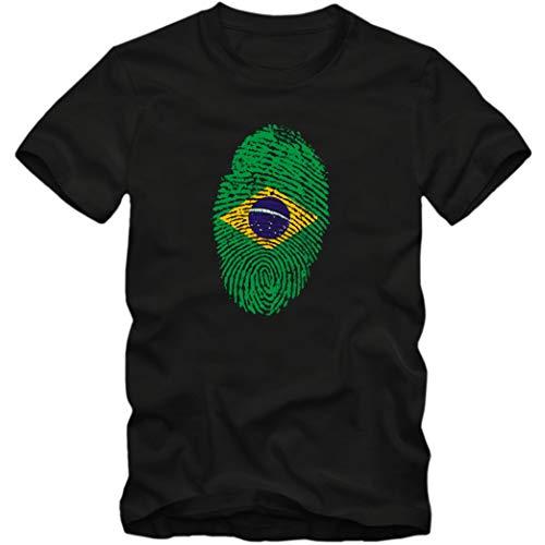 Herren T-Shirt Brazil Brasilien Fußball Trikot Fingerabdruck WM, Farbe:schwarz, Größe:XL
