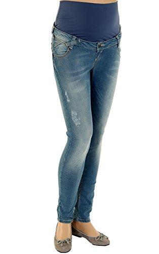 Christoff Schwangerschaftsjeans Umstandsjeans Five-Pocket-Jeans - Skinny mit Details im Used-Look - elastisches Bauchband - 63/91/8 - blau - Gr.38