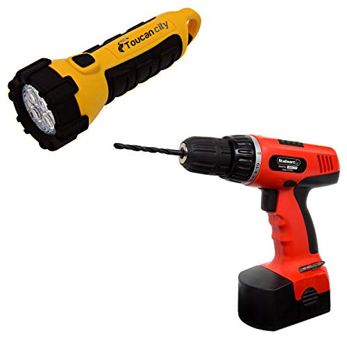Toucan City LED Flashlight and Stalwart 78-Piece 18-Volt Cordless 3/8 in. Drill Set 75-66007