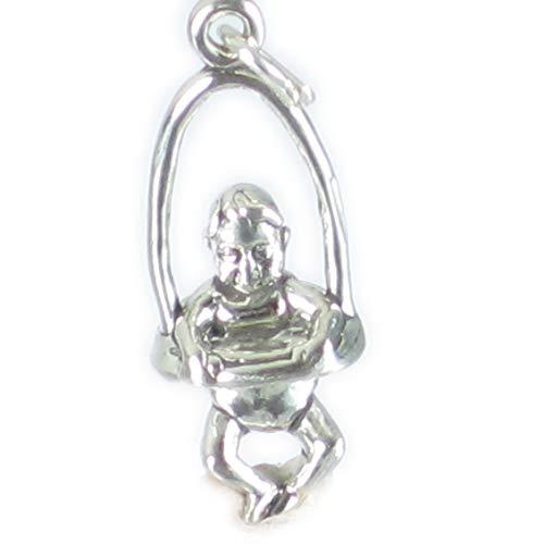 Bebé en una mecedora interactiva de plata de ley 925 para pulsera. x 1 Babies colgantes Gorilas...