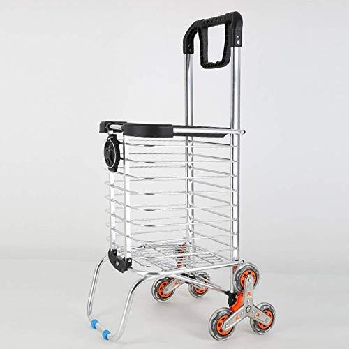 Chenbz Carretilla plegable, portátil cesta de la compra, el carro del equipaje de múltiples funciones, Asiento con tapa, de ultramarinos Compras for los ancianos, A