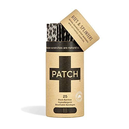 PATCH Umweltfreundliche Bambus-Pflaster für Bisse und Splitter, Aktivkohle, 25 Stück