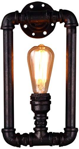 Luces de pared industriales, Lámpara de pared industrial Lámpara de tubo Steampunk Tubo de agua negra E27 Edison Bulb Light Light Retro Sconte para sala de estar Dormitorio Dormitorio Pasillo Sótano L