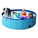 4VWIN Foldable Dog Swimming Pool Pet Large Paddling Pool Puppy Bathing Tub Ideal for Pets Children Kid for Garden Patio Bathroom (XL: 63' X 12' (160cm x 30cm), Blue)
