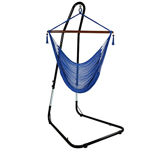 Sunnydaze Hanging Rope Hammock Chair Swing with Stand - Caribbean Style Extra Large Hanging Chair with Adjustable Stand - 300 Pound Capacity - Blue