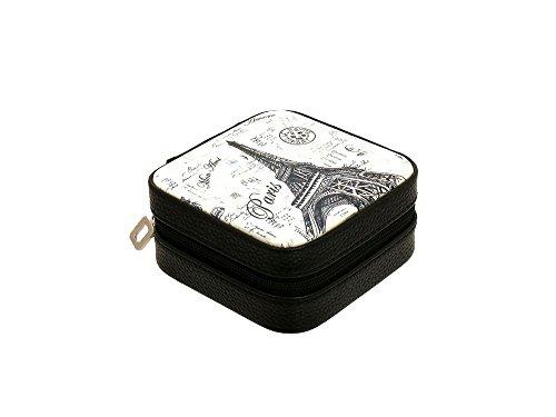 Boîte à bijoux portable organiseur de voyage pour bagues, colliers, deux couches séparées avec fermeture éclair