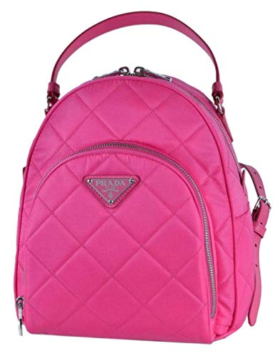 Prada Quilted Tessuto Nylon Fuxia Pink Zaino Backpack 1BZ066