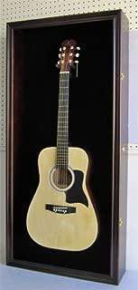 LARGE Acoustic Guitar Display Case Cabinet, Fit most Guitars, with Lock, Mahogany Finish (Black Background, Mahogany Finish)