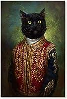 クラシックスタイルの黒猫はヴィンテージの服を着ていますキャンバスペインティング抽象的なポスターとプリント壁の写真をリビングルームの装飾用40x60cmコーニサなし