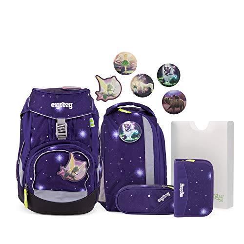 ergobag pack Set - ergonomischer Schulrucksack, Set 6-teilig, 20 Liter, 1.100 g - Bärgasus Glow - Lila