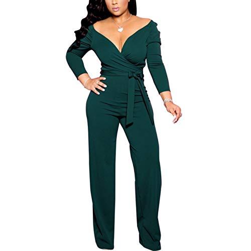 IyMoo Women's Sleeveless Overlap V-Neck Long Wide Leg Pants Jumpsuit Romper 3-Army Green Large