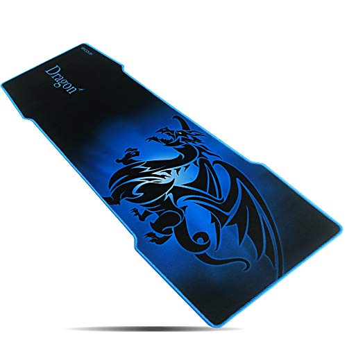 excovip 3mm Blue Extra Extended Gaming Mouse Pad, 35' x 12' x 3mm Non-Slip Rubber Backing Stitched Edges and Ultra Thick (Blue Taming Dragon Mat)