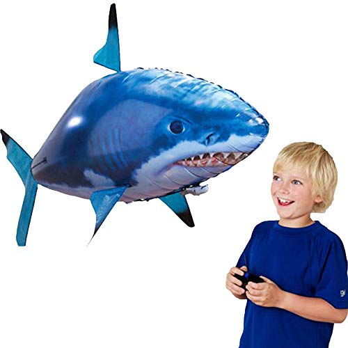 Remote Control Flying Shark Toy Air Swimming Fish RC Animal Toy for Kids Children Remote Radio Blimp Inflatable Balloon Flying Shark (Shark)