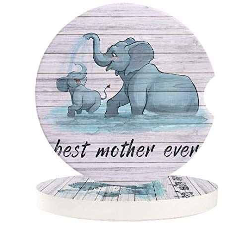 Car Absorbent Stone Coasters, Best Mother Ever Cute Elephant Mother and Child Playing Coaster Set for Auto, Convenient Finger Slot Fit Most Car, As Gift for Men and Women 2-Piece Set