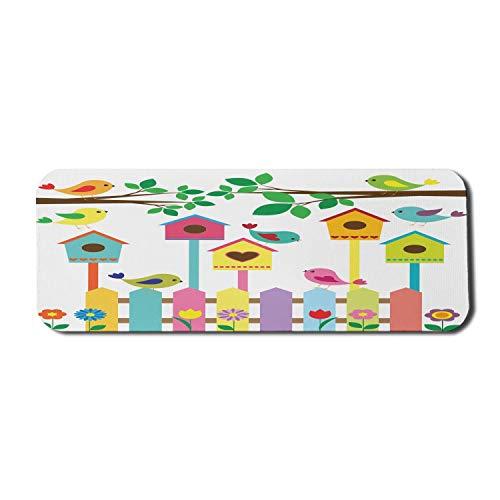 Vögel Computer Mouse Pad, bunte Vogel Tiere Vogelhäuschen und Zaun Design Kinder Cartoon-Stil Skizze, Rechteck rutschfeste Gummi Mousepad große mehrfarbig