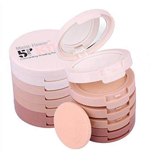 FantasyDay® Professionale 5 Colori Polvere Fard Viso Palette Trucco - Adattabile a Uso Professionale che Privato