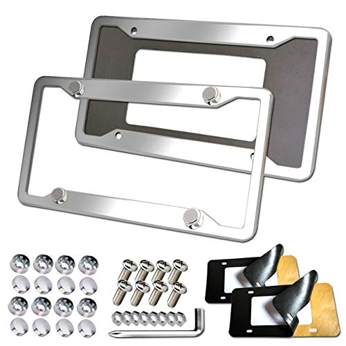 Aootf Stainless Steel License Plate Frames - 2PC Mirror Polish License Plate Cover Tag Holder with Corrosion Resistant Security Anti-Theft Screw Caps & Adhesive Backed Foam Anti-Rattle Pads