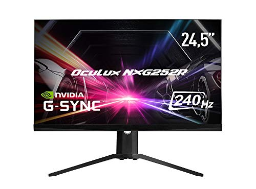 MSI Oculux NXG252R - Monitor LED da 62,2 cm (24,5 pollici), Full HD (1920 x 1080), 240 Hz, 0,5 ms, Mystic Light RGB, design intramontabile, APP OSD, hub USB, NVIDIA G-Sync), colore: Nero