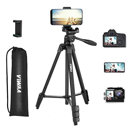 Handy Stativ Kamera - VIWAA Leichtes Tripod 139cm aus Aluminium, Tragfähigkeit 3kg, 3 Wege-Schwenkkopf Stativ für Smartphone iPhone