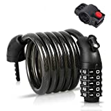 Lrifue Portable 5Digit Code Bike Lock Bicycle Lock Chain 1.2M/4ft Bicycle Lock Combination Cable Lock Lightweight & Security Bike Chain Lock for Bicycle, Mountain Bike, Scooter