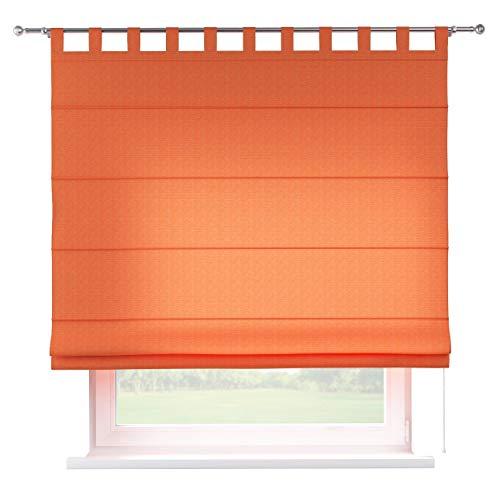 Dekoria Raffrollo Verona ohne Bohren Blickdicht Faltvorhang Raffgardine Wohnzimmer Schlafzimmer Kinderzimmer 100 × 170 cm orange Raffrollos auf Maß maßanfertigung möglich