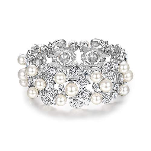 EVER FAITH Flower Ivory Color Cream Simulated Pearl Bracelet Clear Austrian Crystal Silver-Tone