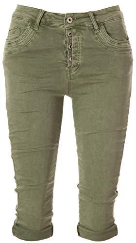 Basic.de Damen 3/4 Jeans-Hose Capri mit verdeckter Knopfleiste Melly & CO 8190 Khaki M