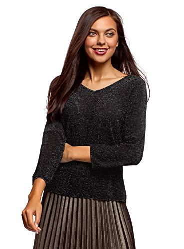 oodji Ultra Damen Lässiger Pullover mit Lurex und Tropfen-Ausschnitt am Rücken, Schwarz, DE 38 / EU 40 / M