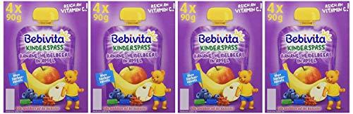 Bebivita Kinder-Spaß, Banane-Heidelbeere in Apfel, 4er Pack ( 4 x 4 x 90 g )