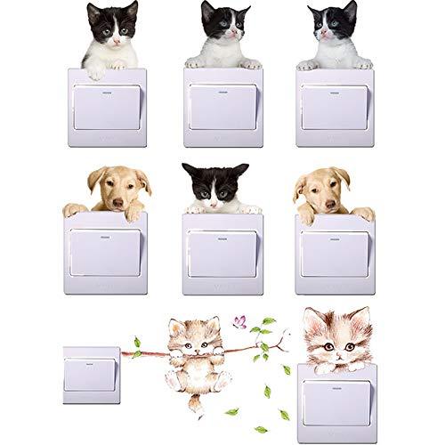 JIAQI Lebendige Wirkung Katze Hund Lichtschalter Aufkleber für Kinderzimmer Salon Wohnkultur PVC Tiere Wandtattoos DIY 3D